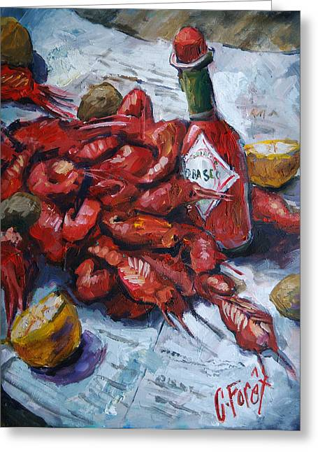 Crawfish Tabasco Greeting Card by Carole Foret