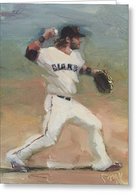 Baseball Paintings Greeting Cards - Crawford Sketch Greeting Card by Darren Kerr