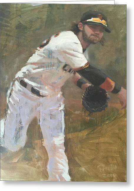 Sf Giants Greeting Cards - Crawford Throw to First Greeting Card by Darren Kerr