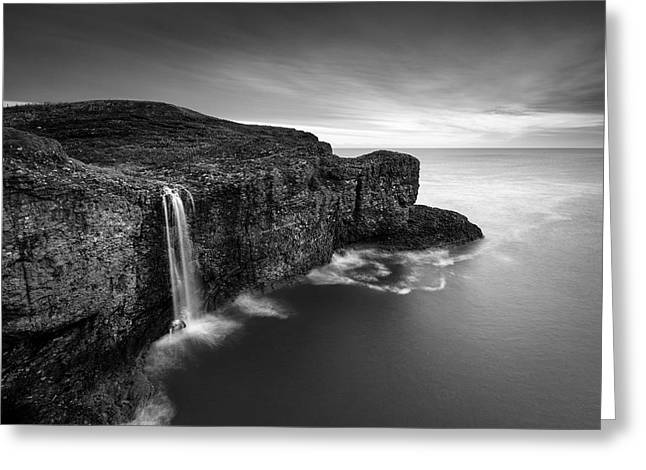 Black And White Waterfall Greeting Cards - Crawton Cliffs Greeting Card by Dave Bowman