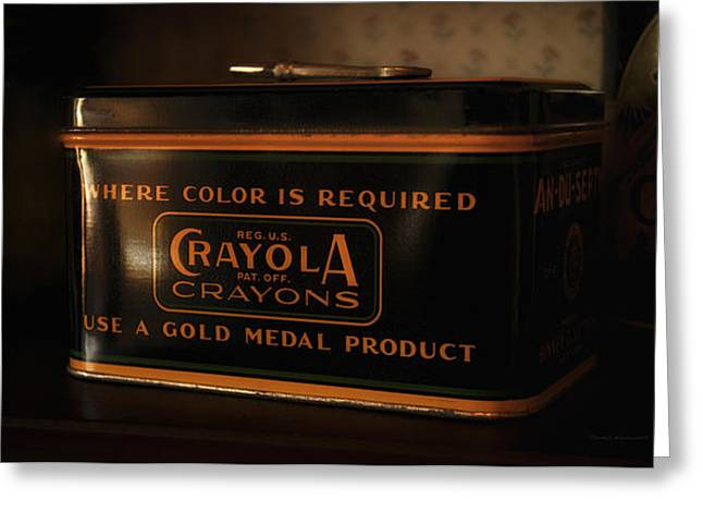 Paint Photograph Greeting Cards - Crayola Antique Metal Box Greeting Card by Thomas Woolworth