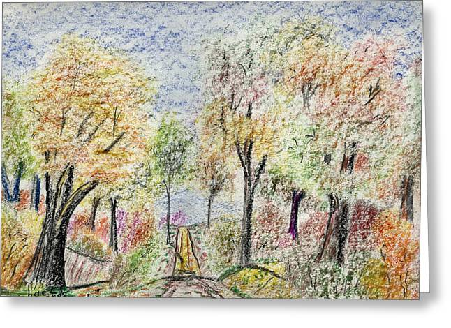 Indiana Autumn Drawings Greeting Cards - Crayon Road Greeting Card by Michael Anthony Edwards