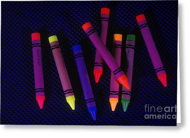 Ultraviolet Light Greeting Cards - Crayons Under Uv Light Greeting Card by Aaron Haupt