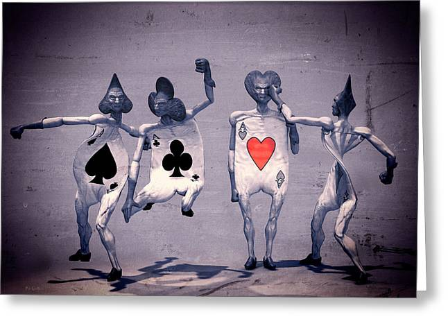 Four Aces Greeting Cards - Crazy Aces Greeting Card by Bob Orsillo