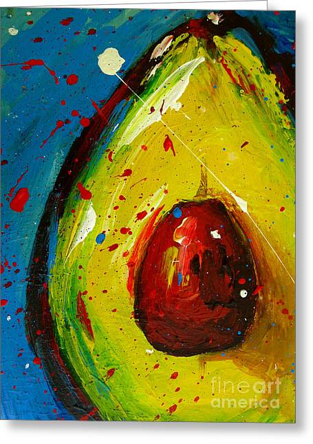 Interior Still Life Paintings Greeting Cards - Crazy Avocado 4 Greeting Card by Patricia Awapara