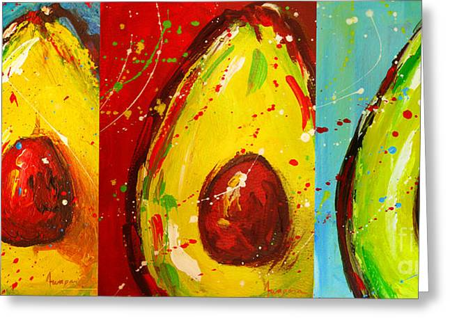 Interior Still Life Greeting Cards - Crazy Avocados triptych  Greeting Card by Patricia Awapara