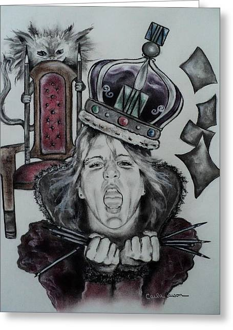 Royalty Pastels Greeting Cards - Crazy Carla Queen of Charcoal Land Greeting Card by Carla Carson