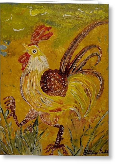 Louise Burkhardt Greeting Cards - Crazy chicken Greeting Card by Louise Burkhardt