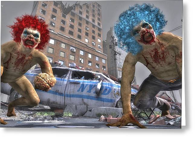 Killer Clown Greeting Cards - Crazy Clowns Greeting Card by Todd and candice Dailey