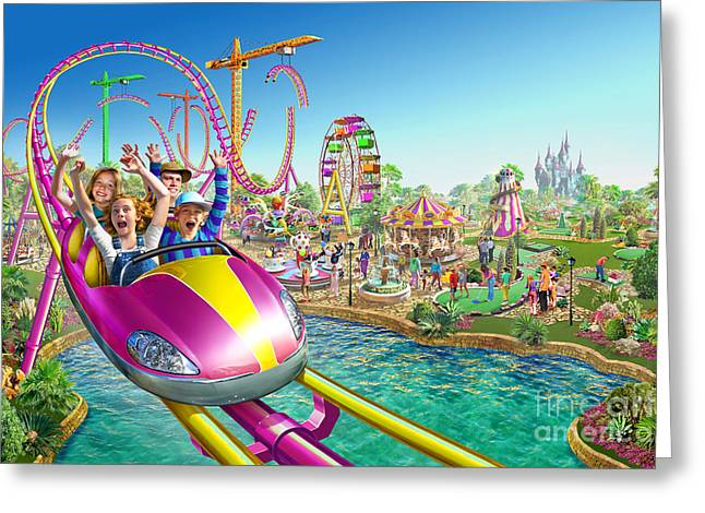 Amusements Digital Art Greeting Cards - Crazy Coaster Greeting Card by Adrian Chesterman