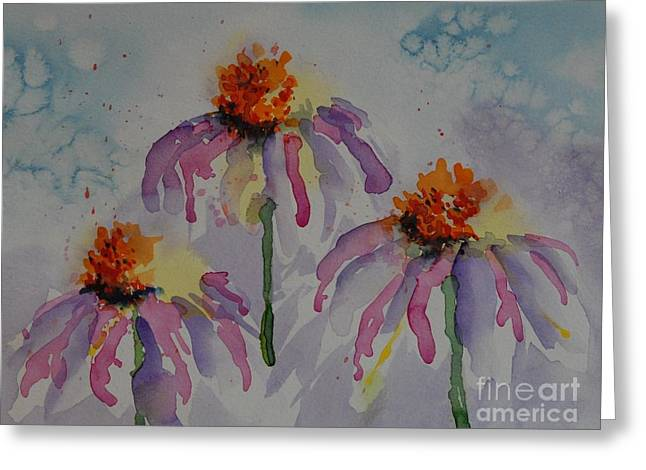 Cone Flowers Greeting Cards - Crazy Cone Flowers Greeting Card by Gretchen Bjornson