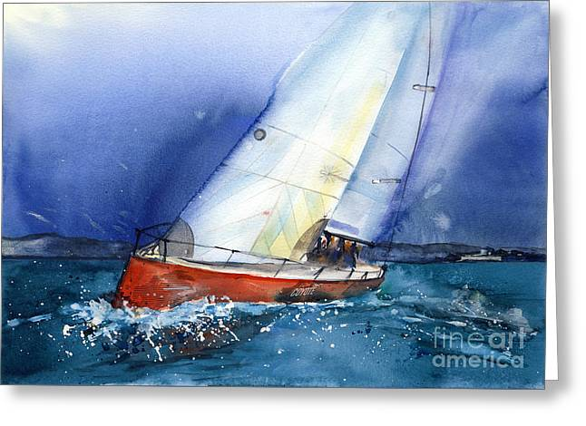 Recently Sold -  - Red Abstracts Greeting Cards - Crazy Coyote - sailboat Greeting Card by Ira Ivanova