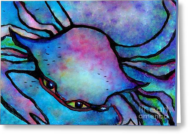Bright Colors Greeting Cards - Crazy Crab Abstract Greeting Card by Eloise Schneider