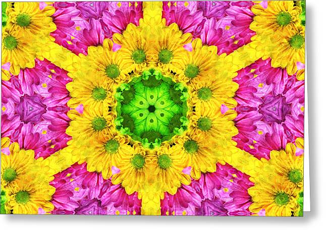 Crazy Daises - Spring Flowers - Bouquet - Gerber Daisy Wanna Be - Kaleidoscope 1 Greeting Card by Andee Design