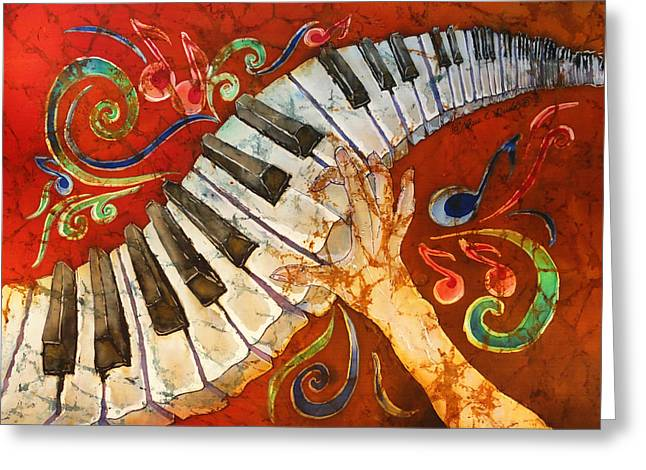 Piano Greeting Cards - Crazy Fingers - Piano Keyboard  Greeting Card by Sue Duda