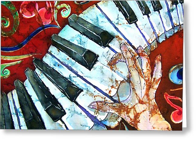 Hand Tapestries - Textiles Greeting Cards - Crazy Fingers Piano Square Greeting Card by Sue Duda