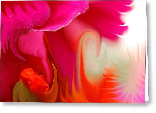Abstract Digital Digital Greeting Cards - Crazy Flowers-1 Greeting Card by Lyn  Perry