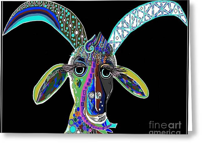 Pop Mixed Media Greeting Cards - CRAZY GOAT on Black  Greeting Card by Eloise Schneider