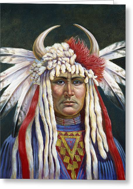 White River Mixed Media Greeting Cards - Crazy Horse Greeting Card by Gregory Perillo