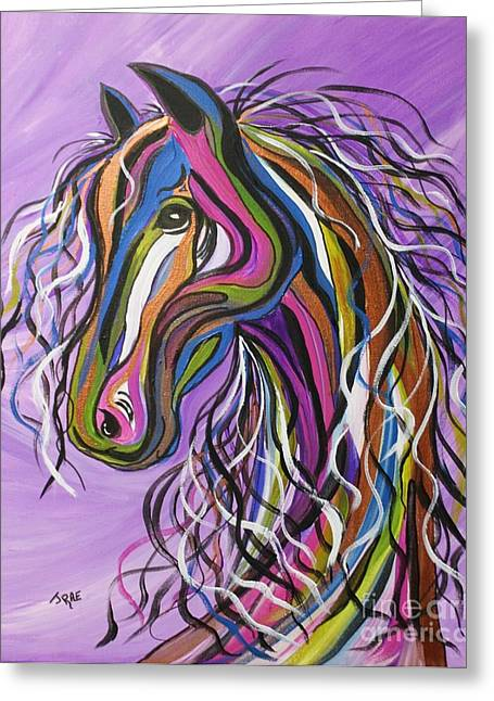 Black Painted Edges Greeting Cards - Crazy Horse Greeting Card by Janice Rae Pariza