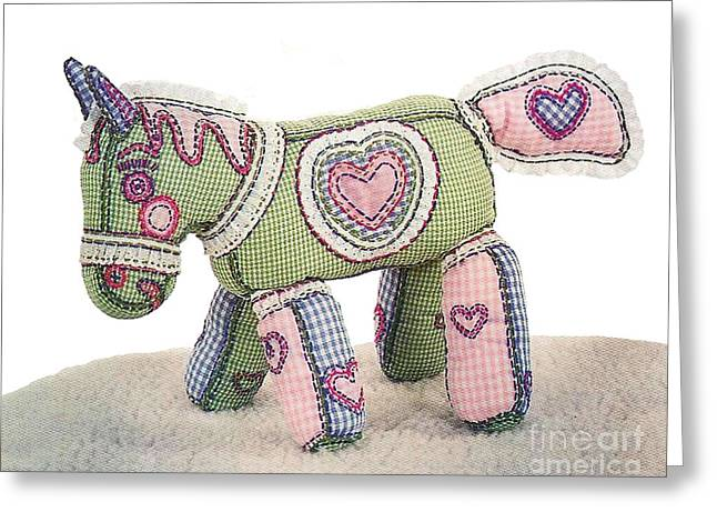Handcrafted Tapestries - Textiles Greeting Cards - Crazy Horse Greeting Card by Joy Calonico