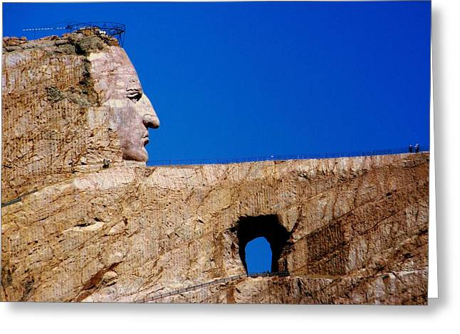 Stone Carving Greeting Cards - Crazy Horse Greeting Card by Karen Wiles