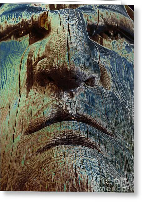 Wooden Sculpture Greeting Cards - Crazy Horse Greeting Card by Lynn Sprowl