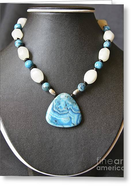 Natural Jewelry Greeting Cards - Crazy Lace Agate Necklace Greeting Card by Megan Cohen