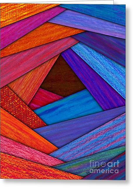 Uplifting Tapestries - Textiles Greeting Cards - Crazy Log Cabin Card Greeting Card by David K Small