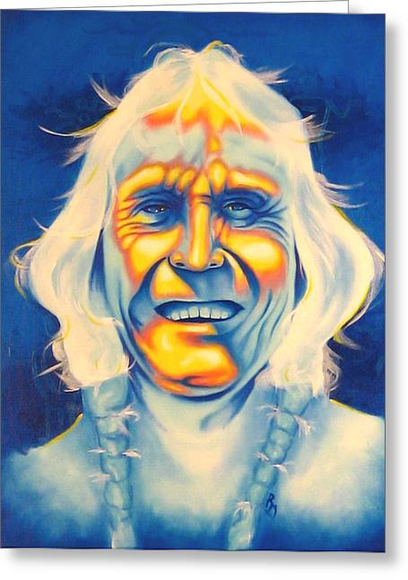 Contemporary Native Art Greeting Cards - Crazy Man Greeting Card by Robert Martinez