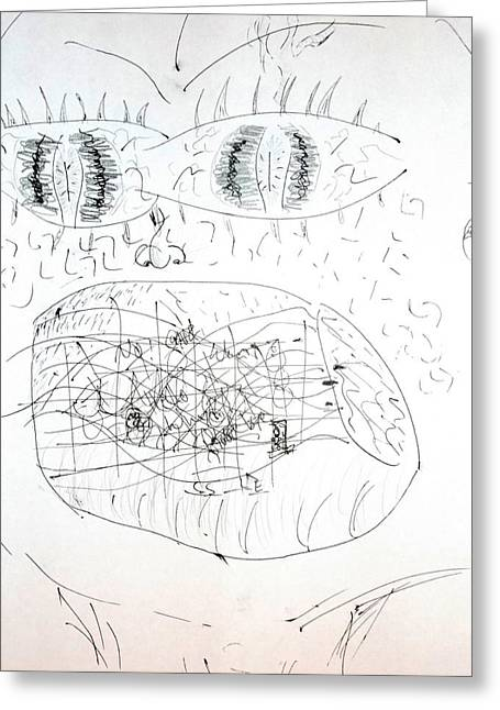 Eyelash Drawings Greeting Cards - Crazy Mouth Greeting Card by Brent Dolliver
