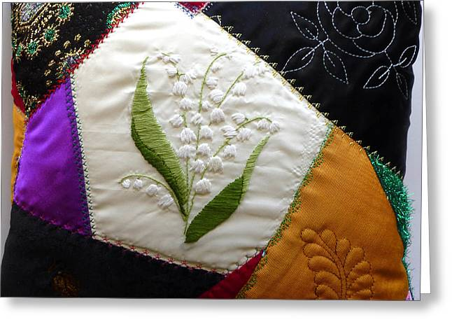 Crazy Quilt Greeting Cards - Crazy quilt pillow Greeting Card by Reta Haube