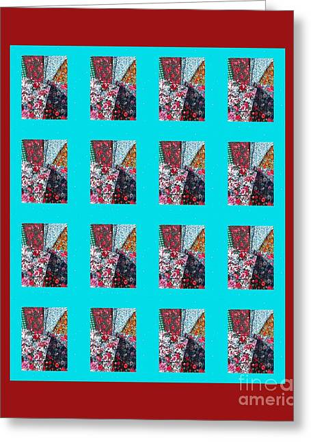 Crazy Quilt Greeting Cards - Crazy Quilt with Turquoise and Red Greeting Card by Barbara Griffin