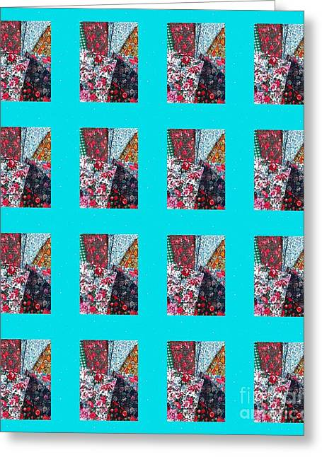 Barbara Griffin Quilts Greeting Cards - Crazy Quilt with Turquoise  Greeting Card by Barbara Griffin