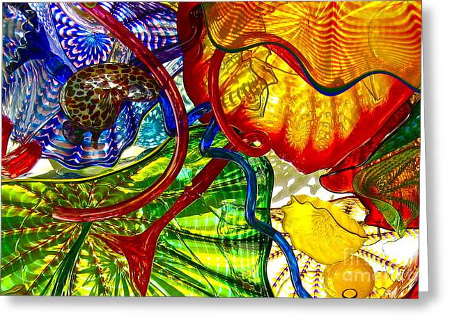 Geometric Design Glass Art Greeting Cards - Crazy Rainbow Greeting Card by Carol Rauss