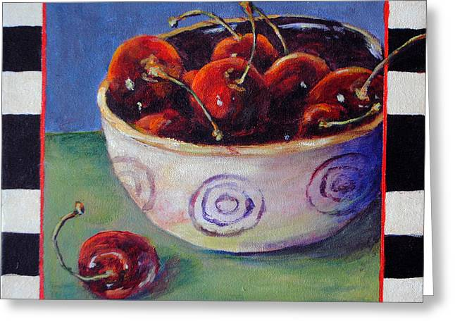Toelle Hovan Greeting Cards - Crazy Stemmed Cherries Greeting Card by Toelle Hovan