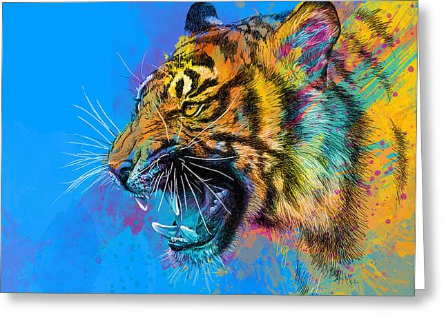 Colorful Animal Art Greeting Cards - Crazy Tiger Greeting Card by Olga Shvartsur