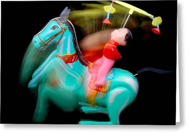 Acrobat Greeting Cards - Crazy Windup Toy Greeting Card by Jim Hughes