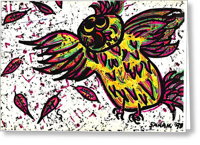 Sarah Loft Drawings Greeting Cards - CrazyBird Greeting Card by Sarah Loft