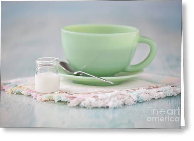 Kerchief Greeting Cards - Cream and Coffee Greeting Card by Kay Pickens