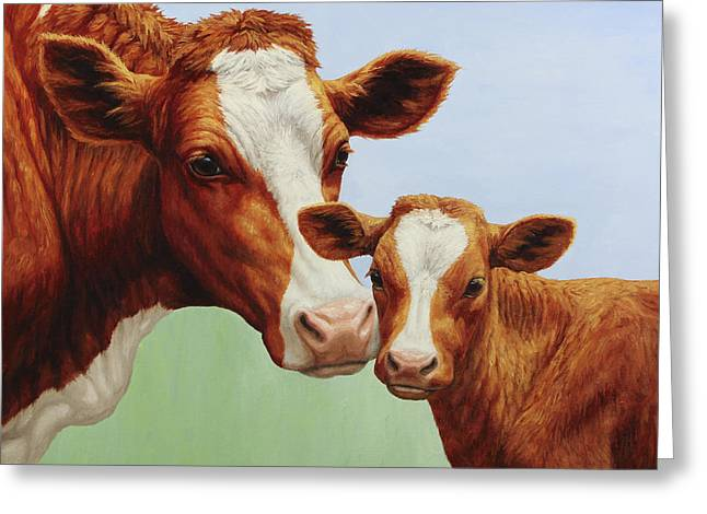 Cow Paintings Greeting Cards - Cream and Sugar Greeting Card by Crista Forest