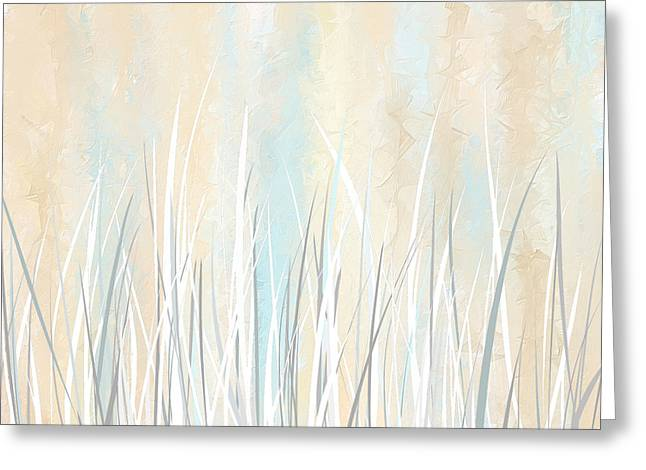 Best Sellers -  - Light And Dark Greeting Cards - Cream and Teal Art Greeting Card by Lourry Legarde