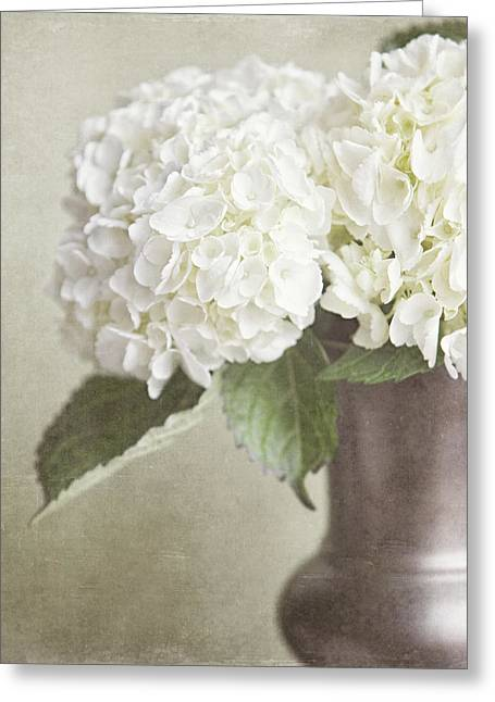 Vase Of Flowers Greeting Cards - Cream Hydrangea in a Bronze Vase Still Life Greeting Card by Lisa Russo