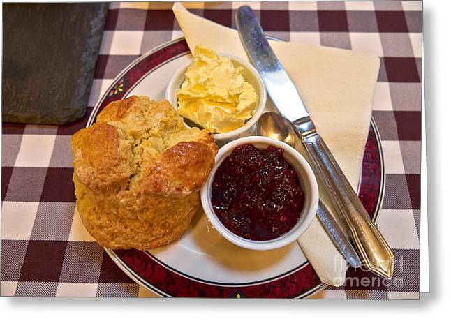 Whipped Cream Greeting Cards - Cream tea with home made scone jam and clotted cream Greeting Card by Louise Heusinkveld