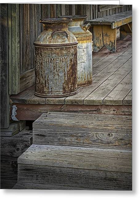 Randy Greeting Cards - Creamery Can in 1880 Town No 3096 Greeting Card by Randall Nyhof