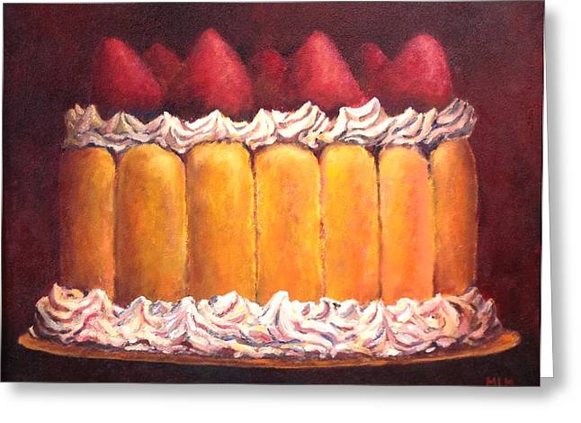 Lady Finger Cake Greeting Cards - Creamy Berry Delight Greeting Card by Marie-louise McHugh