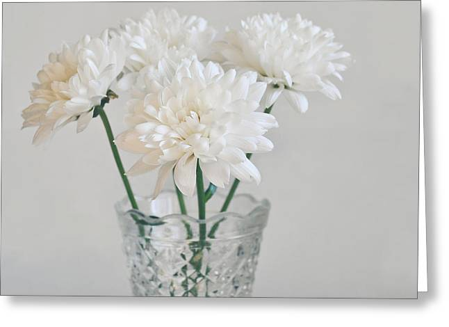 Lyn Randle Greeting Cards - Creamy white flowers in tall vase Greeting Card by Lyn Randle