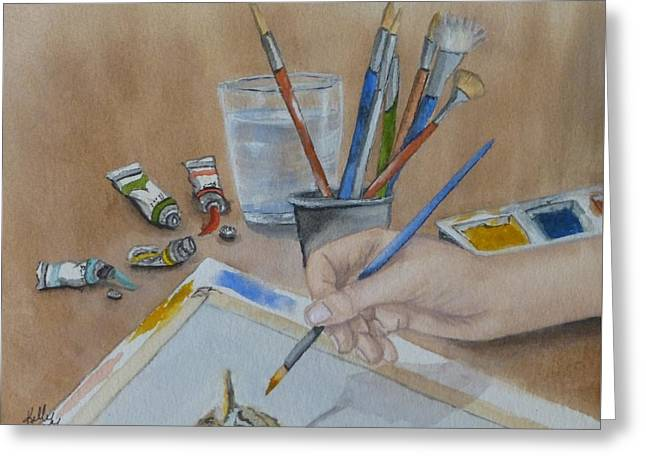 At Work Greeting Cards - Creating a Watercolor Greeting Card by Kelly Mills