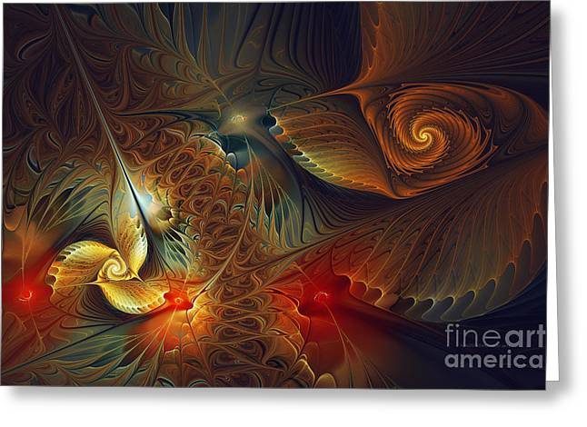 Subtile Greeting Cards - Creation-Abstract Fractal Art Greeting Card by Karin Kuhlmann