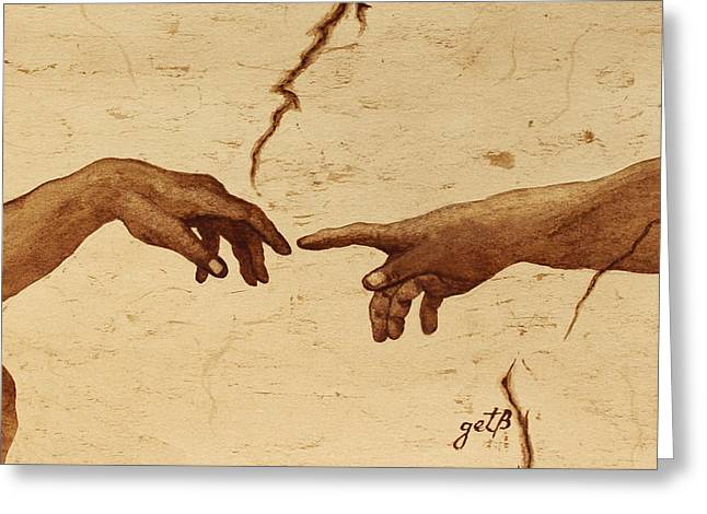 Michelangelo Greeting Cards - Creation of Adam Hands a Study coffee painting Greeting Card by Georgeta  Blanaru